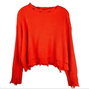Fashion Nova orange cropped distressed sweater